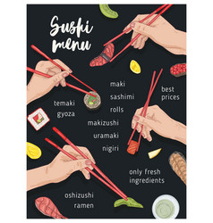 japanese restaurant menu template with hands vector image