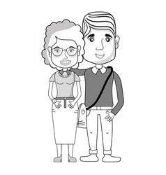 Line nice couple with hairstyle and casual clothes vector