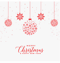 lovely merry christmas white card with red vector image