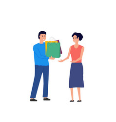 man with gift for woman vector image