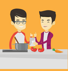 Men cooking healthy vegetable meal vector