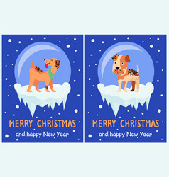 Merry christmas and happy new year doggy congrats vector