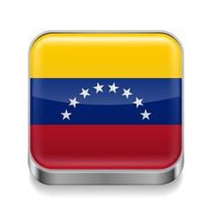Metal icon of Venezuela vector