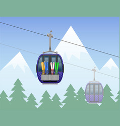 Mountain landscape with cabin ski cableway vector