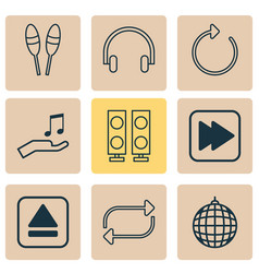 music icons set with headphone refresh drum vector image