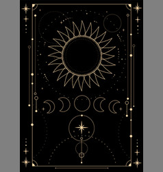 Mystical esoteric composition sun moon and vector