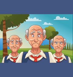 Old men patients alzheimer disease in camp vector