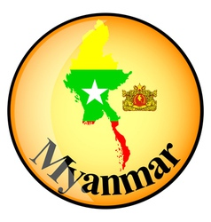 Orange button with the image maps of Myanmar vector