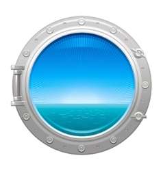 Porthole icon with sea and sky summer landscape vector