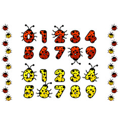 Red and yellow ladybug numeral figure number vector