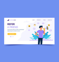 refer a friend landing page with man holding vector image