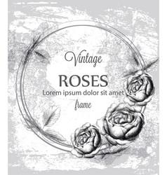 roses vintage card line art vintage ink vector image