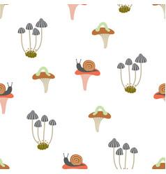 seamless pattern mushroom vector image