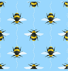 seamless pattern with bees and wavy lines vector image