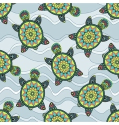 Seamless pattern with green turtles in the sea vector