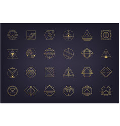 set abstract geometric logos art deco vector image