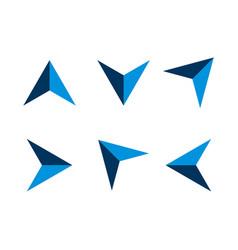 set blue arrow navigation logo template design vector image
