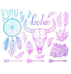 set boho elements bull skull native americans vector image