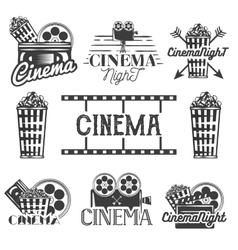 Set of cinema labels and logos Isolated vector