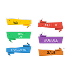 set of colorful ribbon banners flat linear design vector image