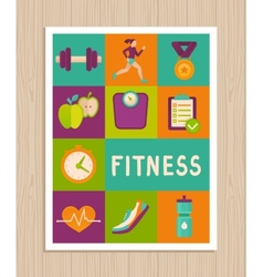 Set of fitness icons on greeting card vector
