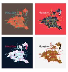 set of flat map houston city texas roads vector image