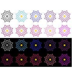 Set of lotuses performed a thin stroke vector