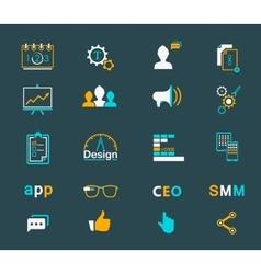 Set of modern icons app seo smm vector image