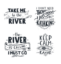 Set oflettering kayaking quotes rafting banner vector