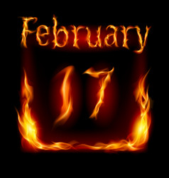 Seventeenth february in calendar of fire icon on vector