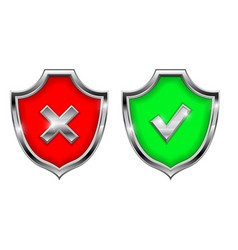 shield signs security alert symbols accept and vector image