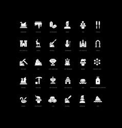 Simple icons snow sculpture festival vector