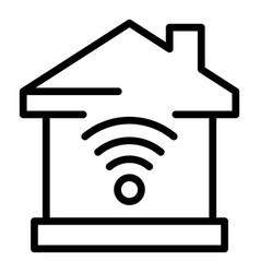 Smart home wifi icon outline style vector