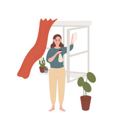 smiling housewife cleaning window at home vector image