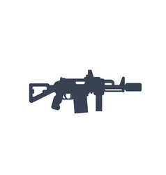 Tactical assault rifle with silencer icon vector