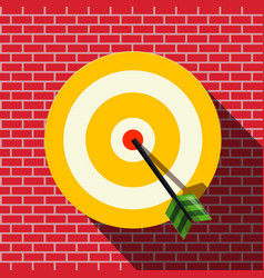 target with dart in the center bullseye on wall vector image