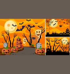 Three background with halloween night and vector