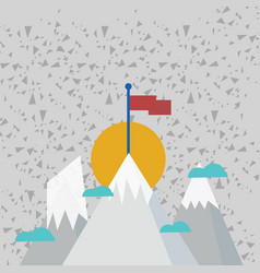 Three mountains with snow goes up beyond the small vector