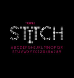 triple stitch style font vector image