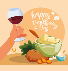 Turkey dinner of thanksgiving day with set icons vector