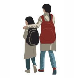 Two schoolgirls vector image