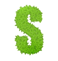 Uppecase letter S consisting of green leaves vector image