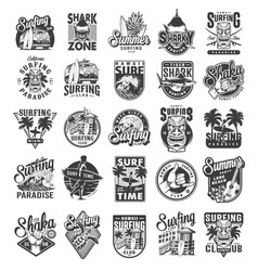 vintage surfing sport labels vector image