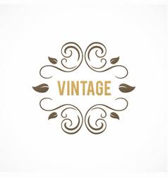 Vintage swirl leaf logo vector