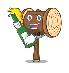 With beer mallet mascot cartoon style vector