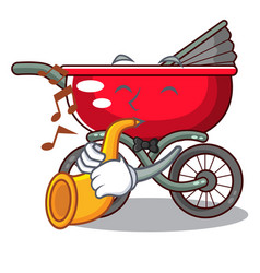 with trumpet baby sitting in a baby stroller vector image