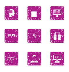 World scientist icons set grunge style vector