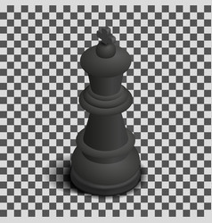 Black king chess piece isometric vector