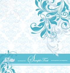 blue floral invitation card vector image vector image