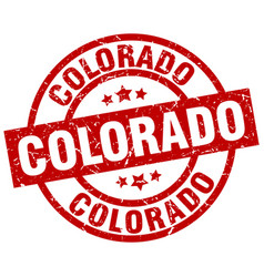 colorado red round grunge stamp vector image vector image